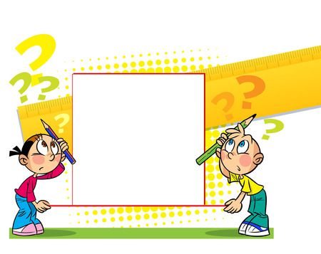 The illustration shows a boy and girl with banner. Illustration done in cartoon style, there is block for text.