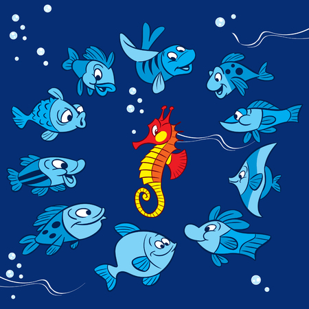 variegated: Pattern with cartoon fish and bright red seahorse. Illustration made on blue background on separate layers.