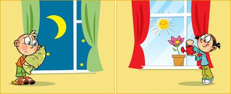 Die Abbildung zeigt ein Kinder zu verschiedenen Zeiten des Tages, in den Raum. Die Kinder gehen ins Bett und wache am Morgen. Illustration im Cartoon-Stil getan, auf separaten Ebenen.