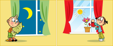 action girl: The illustration shows a children at different times of day, in the room. The children are going to bed and wake up in the morning. Illustration done in cartoon style, on separate layers. Illustration