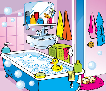 domestic room: The illustration presented bathroom interior in a cartoon style.