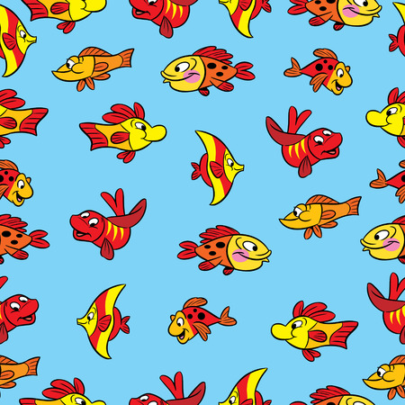 variegated: Seamless pattern with colorful cartoon fish