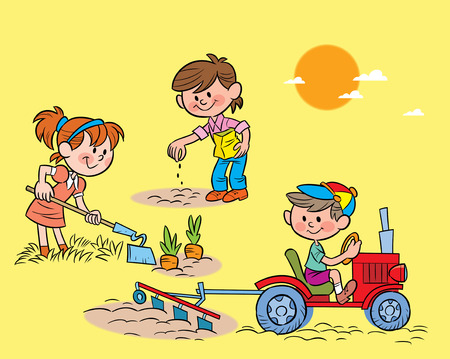 springtime: The illustration shows children working in the garden with different tools