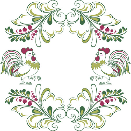 red currant: The illustration shows a beautiful decorative frame with sprigs of red currants and cockerels. Ornament on a white isolated background, in the vector, on separate layers.