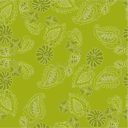 On an illustration of a vector pattern with a flower pattern and leaves on a green background