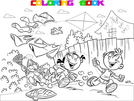 The illustration shows a boy and a girl on vacation in the countryside. They are frolic and launch a kite. Book coloring in cartoon style, vector, on separate layers, black and white contour.