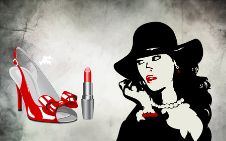 On the illustration, the design of an advertising banner with accessories for fashion, footwear, cosmetics and the silhouette of a stylish woman wearing a hat in contrast to black and red Vektoros illusztráció