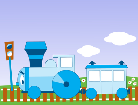 The illustration shows a funny cartoon locomotive Illustration