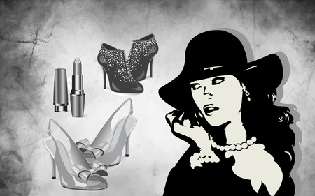 On the illustration the design of an advertising banner with fashion accessories, shoes, cosmetics and the silhouette of a stylish woman in a hat