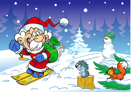 In the illustration, a cartoon Santa Claus on skis is hurrying through the forest for a holiday. He is seen off at him squirrel, hedgehog, snowman. Illustration done in cartoon style, on separate layers. Illustration