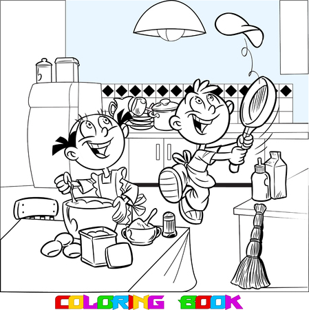 Shows how to cook in a kitchen. Cartoon boy and girl learn to fry pancakes. Done in black outline for a coloring book. Vectores
