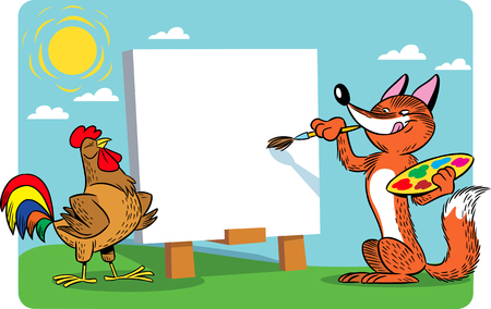 The vector illustration shows a cartoon fox that draws a rooster. The illustration is made in cartoon style, on separate layers.