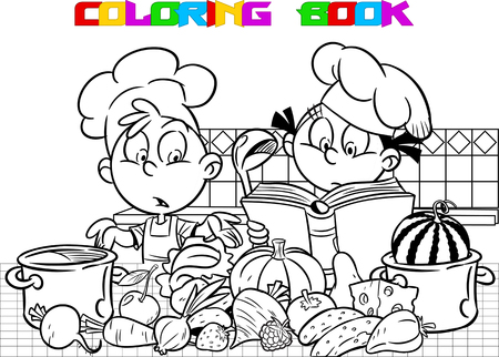 Shows how to cook in a kitchen. He wants to be a little bit crazy. Done in black outline for a coloring book.