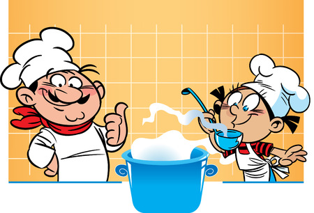 The vector illustration shows a male chef and student who he teaches to cook. Banco de Imagens - 125945307