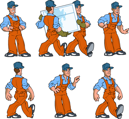 On vector illustration a man in a work overalls. Attendants and people working professionals in various poses isolated on a white background.