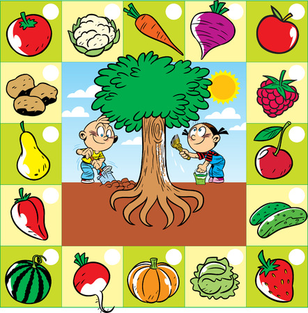 On vector illustration children work in the garden, a set of fruits and vegetables growing in and above the ground