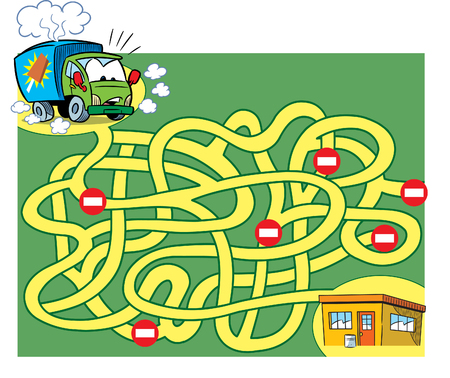 In vector illustration, a logic puzzle for children, in which you need to decide how to get an ice cream truck to the store.