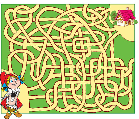 In vector illustration, a logical puzzle for children, in which you need to decide which route the girl should go home