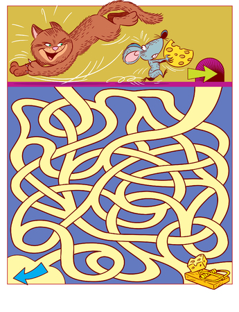 In vector illustration, a logic puzzle for children, in which you need to decide how mouse to run  from cat