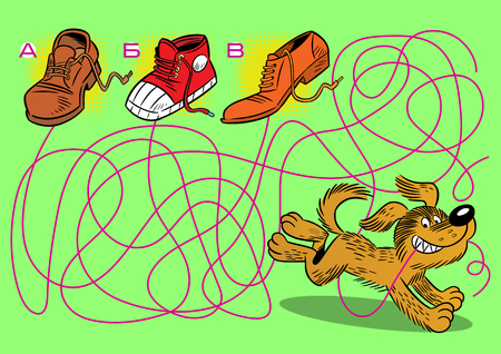 In the vector illustration puzzle with a cheerful puppy, in which you need to find the shoelace lace