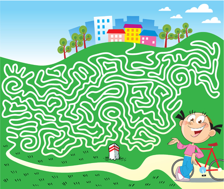 In vector illustration, a puzzle with a girl on a bicycle that must find a way home through a maze