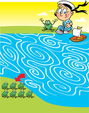 In vector illustration a puzzle, a labyrinth with a boy who to ship frogs to the other side of the pond
