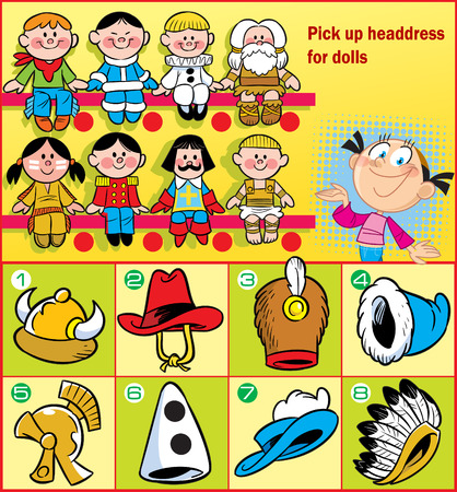 In the vector illustration puzzle, where the girl needs to pick up a headdress for various dolls
