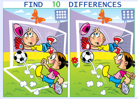 On vector illustration children play football. Puzzle find ten differences in the pictures of sports.