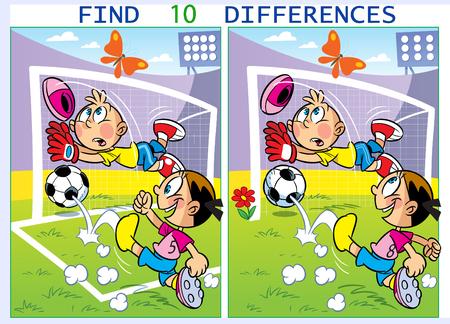 Sur l'illustration vectorielle, les enfants jouent au football. Puzzle trouver dix différences dans les images de sports. Vecteurs