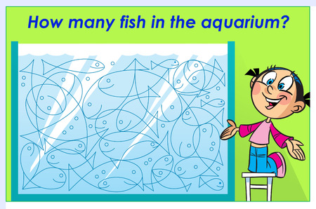In the vector illustration puzzle how many fish in the aquarium. Ready design template for your project.