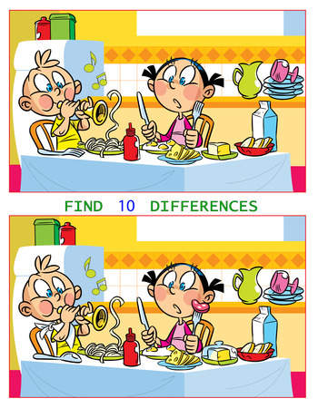 In vector illustration puzzle with children who play at the kitchen table. The task is to find ten differences between the images.