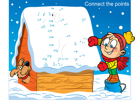 In vector illustration, a puzzle in which you must connect the dots to find out what the boy drew on the roof of the doghouse