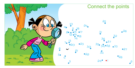 In vector illustration, a puzzle in which you need to connect the dots to find out who the girl met in the forest