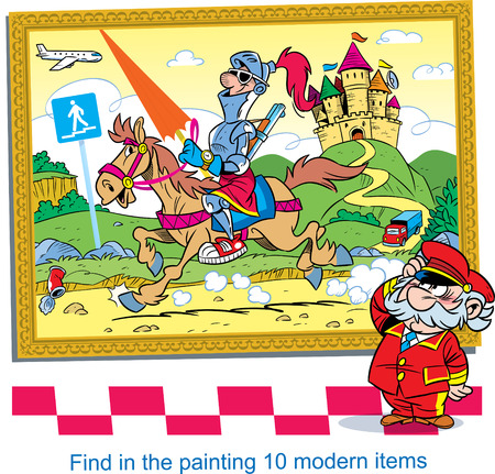 In the vector illustration puzzle with an old painting, in which you need to find ten modern items.