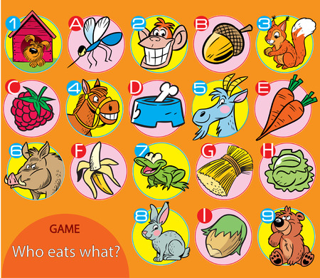 Puzzle , where it is necessary to correctly decide what does every animal like to eat.  Vector illustration for educational and entertainment programs for children.