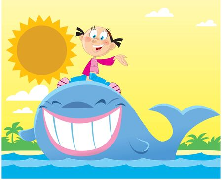 Vector illustration with a little, cartoon girl in the sea riding a big whale.