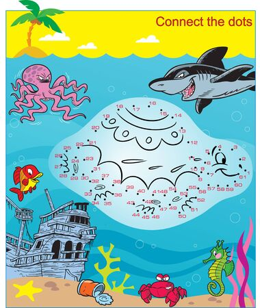 A puzzle with sea creatures with which you need to connect the dots by numbers in order to learn one of the animals.