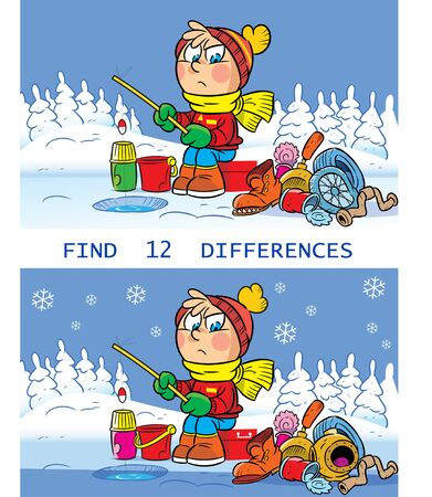 Vector illustration with a puzzle, in which you need to find 12 differences in the pictures with a boy on winter fishing