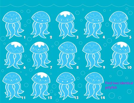 The vector illustration depicts a puzzle in which you need to find two identical marine jellyfish