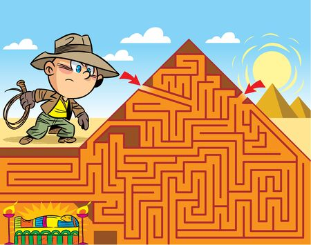 In the vector illustration, a maze puzzle where the boy needs to get to the tomb of the pharaoh Ilustração