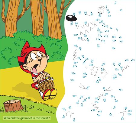 Vector illustration with a puzzle, where you need to draw an outline and find out who the girl met in the forest