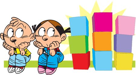 In the vector illustration, children with several multi-colored cubes. Фото со стока - 147264079
