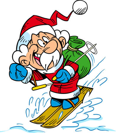 A vector illustration shows a cheerful Santa Claus skiing with a bag of Christmas presents