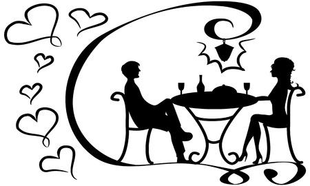 couple amoureux: couple d'amoureux � la table Banque d'images