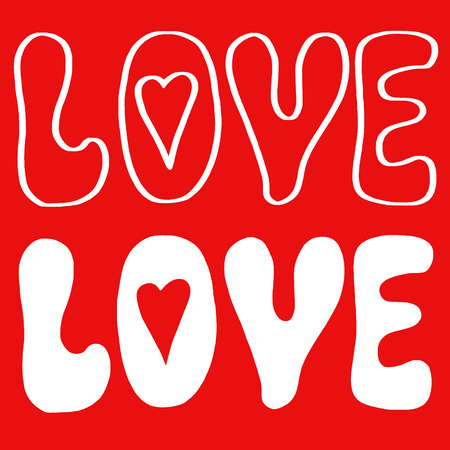 white letters: Word love on red background white letters