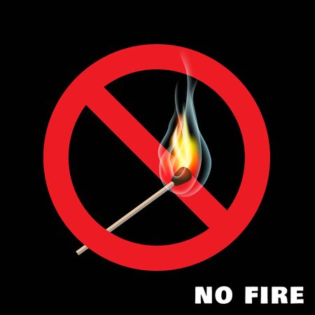 No open fire sign on black background Vectores