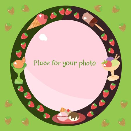 Ice-cream and strawberry frame for your photo.