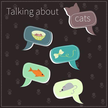 Vector speech bubbles cat set