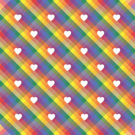 A seamless rainbow stripes pride wallpaper with hearts in colors of the LGBT flag movements, valentine's illustration, greeting card Vettoriali