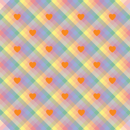 A seamless rainbow stripes pride wallpaper with hearts in colors of the LGBT flag movements, valentine's illustration, greeting card Illustration
